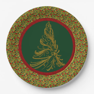 Red Green Gold Christmas Tree 9 Inch Paper Plate