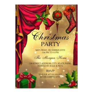Red Green Gold festive Christmas Holiday Invite