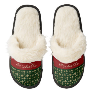 Red Green Gold Fleur de Lis Pair Of Fuzzy Slippers