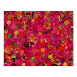 Red Green Gold & Pink Dots Colorful Pattern Poster