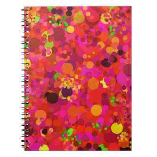 Red Green Gold & Pink Dots Colorful Pattern Spiral Notebook