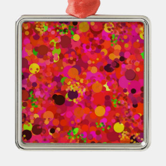 Red Green Gold Pink Dots Decorative Ornament
