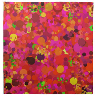 Red Green Gold & Pink Dots Decorative Pattern Cloth Napkins