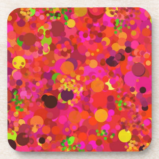 Red Green Gold & Pink Dots Pattern Coasters