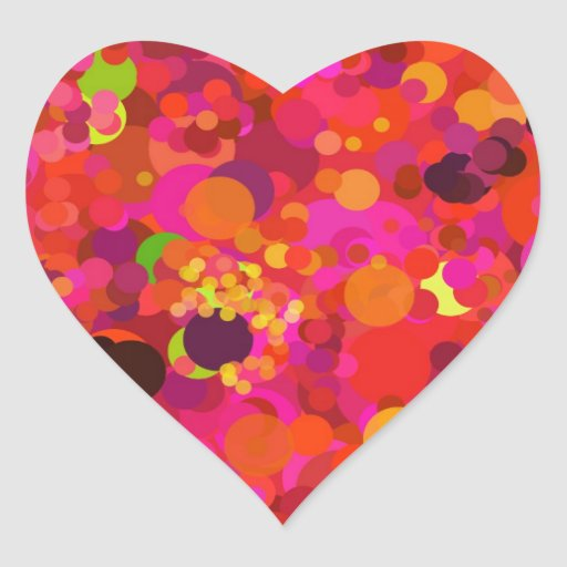 Red Green Gold & Pink Dots Pattern Heart Stickers Heart Sticker