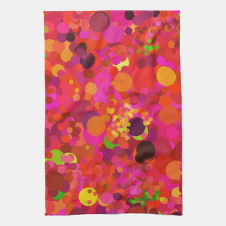Red Green Gold & Pink Dots Pattern Modern Hand Towel