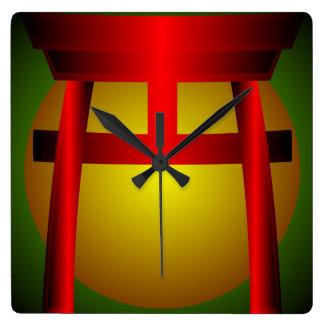 Red Green Gold Shinto Shrine Wall Clock