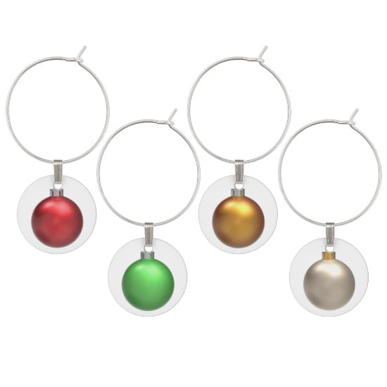 Red Green Gold Sivler Christmas Balls Wine Charms