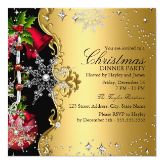 Red green Gold Snowflake Christmas Dinner Party 3 Card