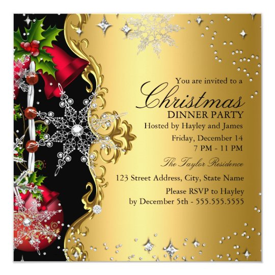 Christmas party invitations zazzle red green gold snowflake christmas dinner party 3 card stopboris Image collections