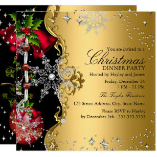 dinner christmas invitations zazzle
