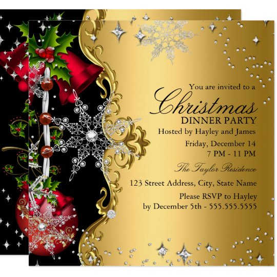 red green gold snowflake christmas dinner party 3 invitation