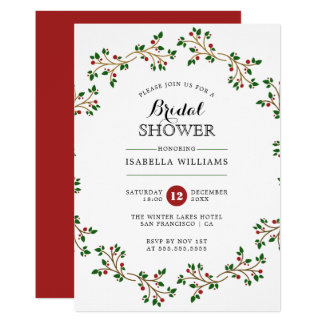 Red, Green & Gold Winter Wreath | Bridal Shower Card