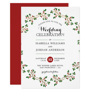 Red, Green & Gold Winter Wreath | Elegant Wedding Invitation
