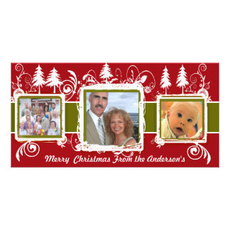 Red Green Grunge Pine Swirls Holiday Family Photo Card