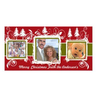 Red Green Grunge Pine Swirls Holiday Family Photo Photo Card