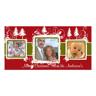 Red Green Grunge Pine Swirls Holiday Family Photo Photo Card