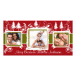 Red Green Grunge Pine Swirls Holiday Family Photo Photo Cards
