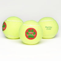 Red Green Happy Howlidays Holidays Christmas Xmas Tennis Balls
