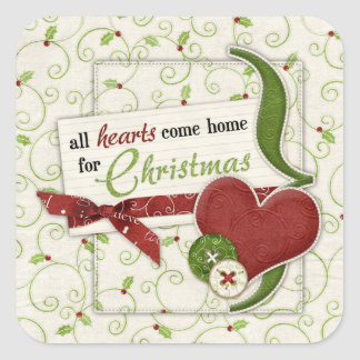 Red Green Hearts Holly Holiday Envelope Seal