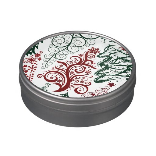 Red Green Holiday Christmas Tree Pattern Candy Tins
