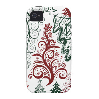 Red Green Holiday Christmas Tree Pattern Case-Mate iPhone 4 Case