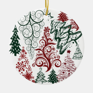 Red Green Holiday Christmas Tree Pattern Ceramic Ornament