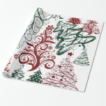Red Green Holiday Christmas Tree Pattern Gift Wrap