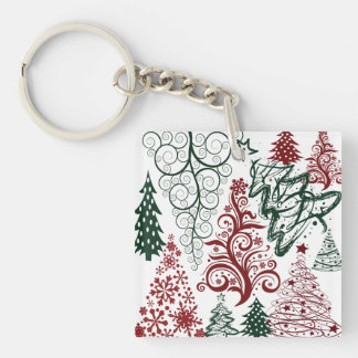 Red Green Holiday Christmas Tree Pattern Keychain