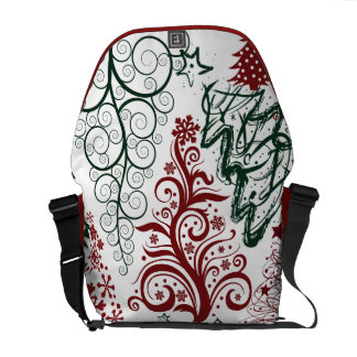 Red Green Holiday Christmas Tree Pattern Messenger Bags