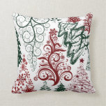 Red Green Holiday Christmas Tree Pattern Pillow