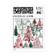 Red Green Holiday Christmas Tree Pattern Postage