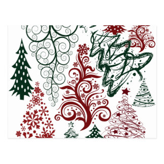 Red Green Holiday Christmas Tree Pattern Postcard