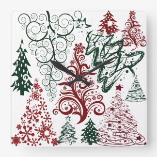 Red Green Holiday Christmas Tree Pattern Square Wall Clock