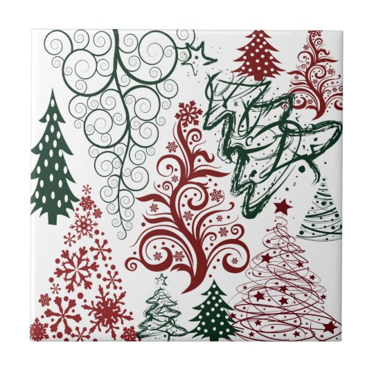 Red Green Holiday Christmas Tree Pattern Tile