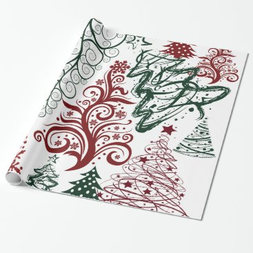 Christmas Themed Red Green Holiday Christmas Tree Pattern Wrapping Paper