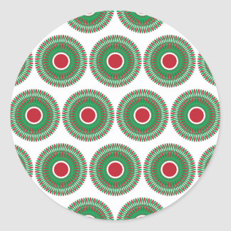Red Green Holiday Christmas Wreath Design Classic Round Sticker