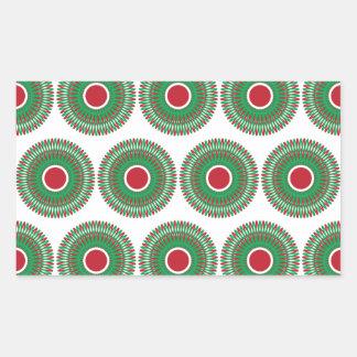 Red Green Holiday Christmas Wreath Design Rectangular Sticker