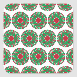 Red Green Holiday Christmas Wreath Design Square Sticker