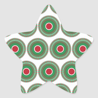 Red Green Holiday Christmas Wreath Design Star Sticker