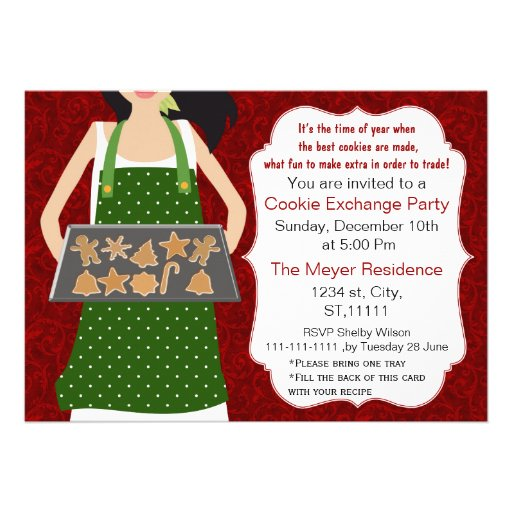 Red & Green Holiday Cookie swap Invite recipe card