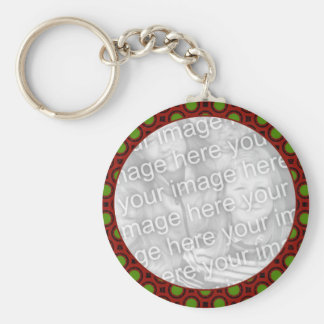 red green holiday photo frame keychain