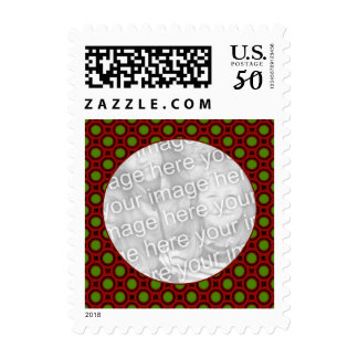 red green holiday photo frame postage