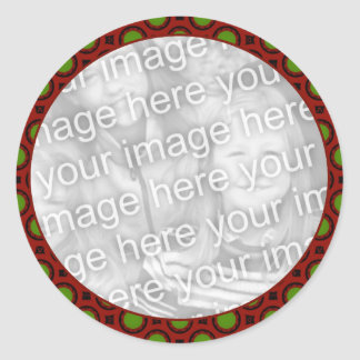 red green holiday photo frame round stickers