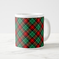 Red Green Holiday Plaid Pattern Giant Coffee Mug