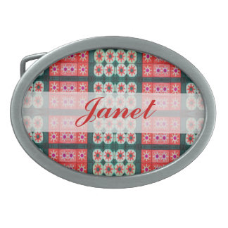 red green holiday tile pattern belt buckles