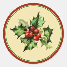 Red & Green Holly Christmas Holiday Envelope Seals at Zazzle