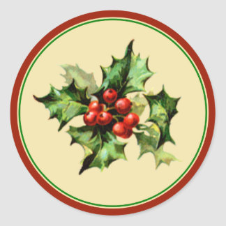 Red & Green Holly Christmas Holiday Envelope Seals Classic Round Sticker