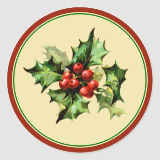 Red & Green Holly Christmas Holiday Envelope Seals