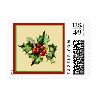 Red & Green Holly Christmas Holiday Postage Stamp